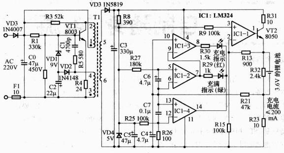 """实际的充电电路可以自具备恒流/ 恒压功能的电源电路加上各种保护电路和检测电路组成.可以使用分立元件. 也可以采用集成电路.只是电路的复杂程度不同,一些附加功能不同而已.图4 是早期的诺基亚8210手机的随机旅行充电器,即我们常说的""""座充"""",包含由市电转低压直流的电源电路和给电池充电的电路,并未使用专用的集成电路,最大充电电流约200mA ,带有充电指示功能,电池充满后会自动停止而不会造成电池的""""过充电。LM324作比较器使用,可以使用专门的四电压比较器,如LM339 替换。另"""